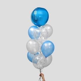 """Фонтан из шаров """"Небесная синева"""", латекс, фольга, 10 шт."""