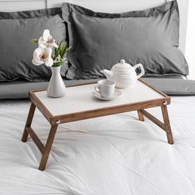 """Столик для завтрака """"Ренессанс"""", 50 х 30 см, массив ясеня, цвет темный орех"""