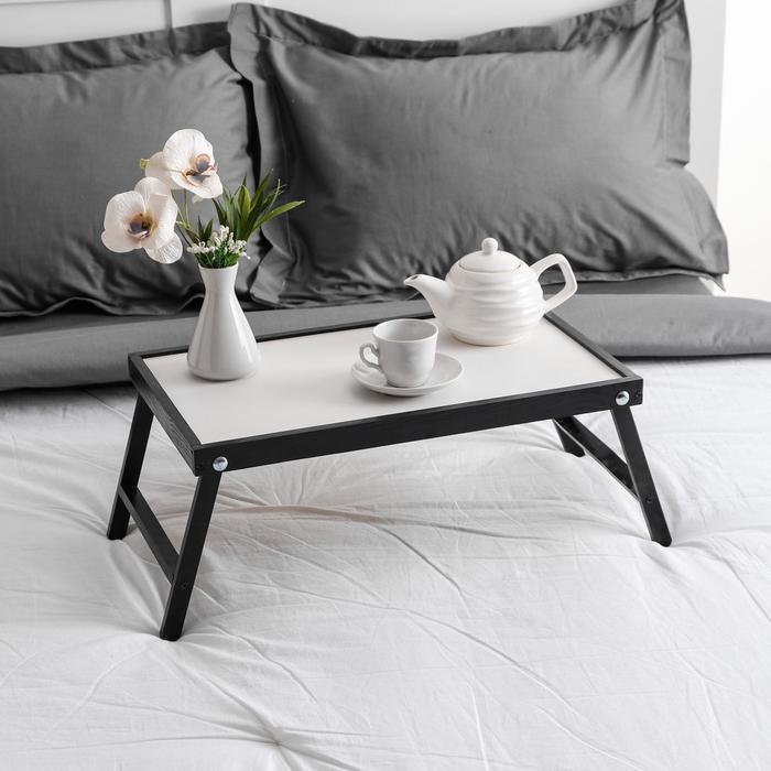 """Столик для завтрака """"Ренессанс"""", 50 х 30 см, массив ясеня, цвет черный"""