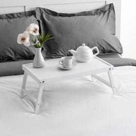 """Столик для завтрака """"Ренессанс"""", 50 х 30 см, массив ясеня , цвет белый"""