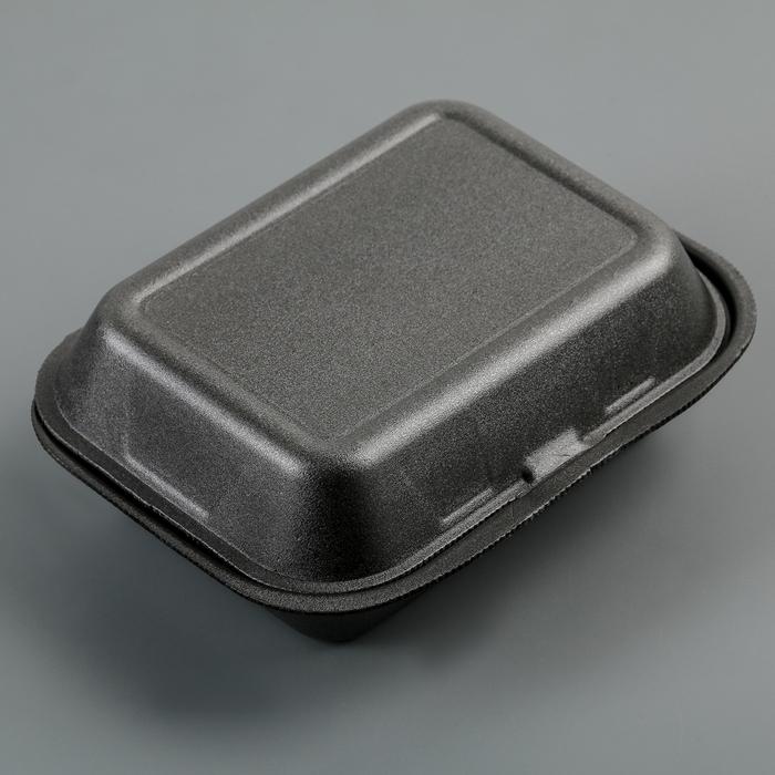 Ланчбокс одноразовый 195×150×70 мм, 1 секция, цвет чёрный