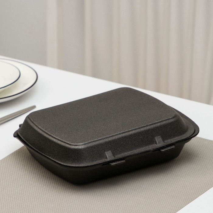 Ланчбокс одноразовый 247×206×35 мм, 1 секция, цвет чёрный