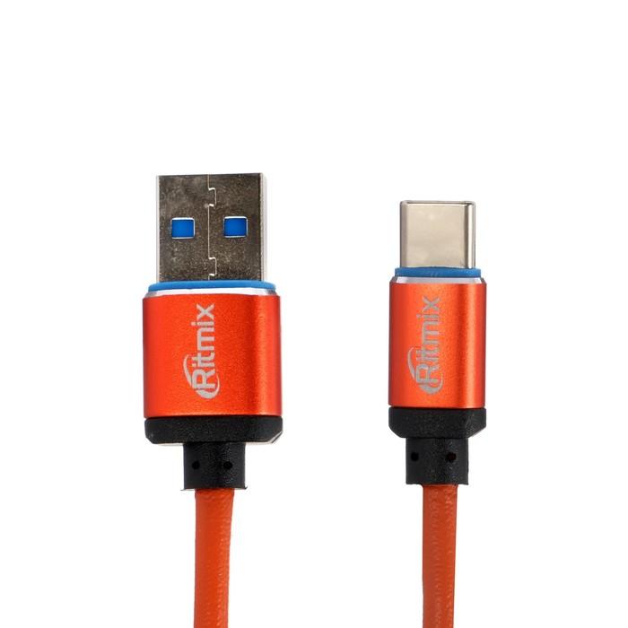 Кабель Ritmix, Type-C - USB, 2.5 А, 1 м, оплетка экокожа