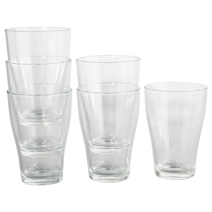 Набор стаканов БЕХЭНДИГ, 6 шт, 300 мл, прозрачное стекло