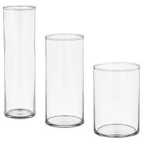 Набор ваз ЦИЛИНДР, 3 шт, прозрачное стекло