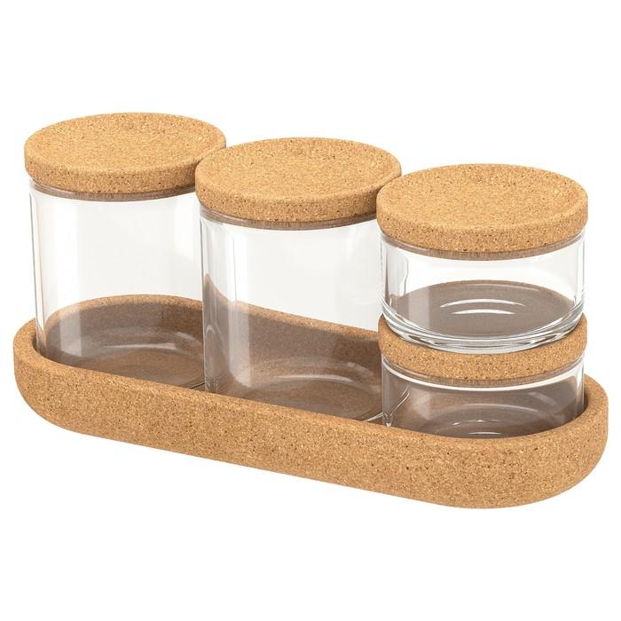 Набор банок с крышкой и поднос САКСБОРГА, 5 шт, стекло пробка