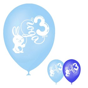 """Balloon 12"""" """"3-year boy"""", pastel, 1 tbsp., set 15 PCs, MIX"""