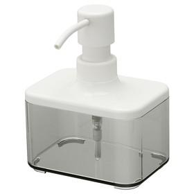 Дозатор для жидкого мыла БРОГРУНД, прозрачный серый, белый, 325 мл Ош