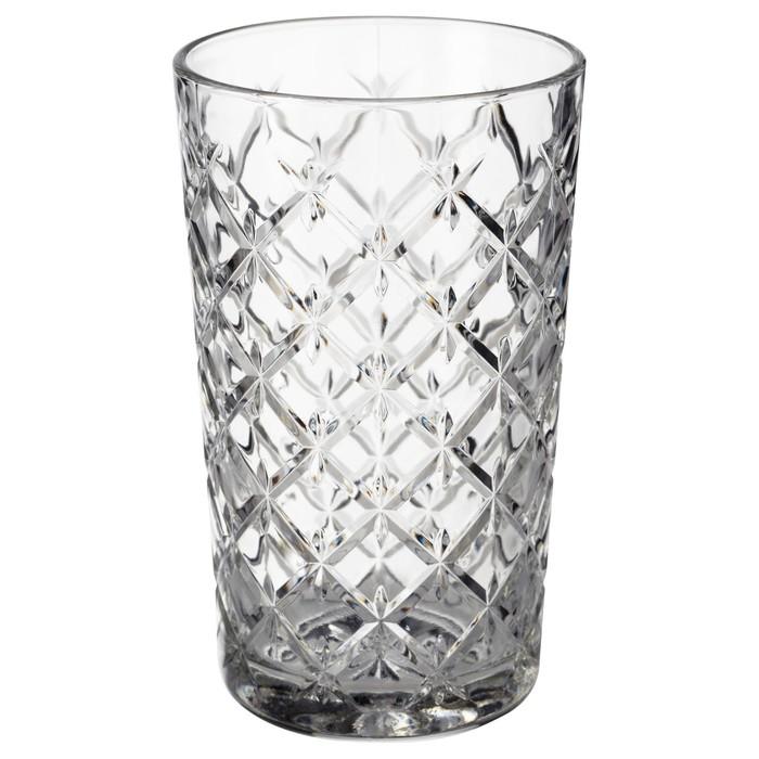 Стакан ФЛИМРА, 420 мл, прозрачное стекло, с рисунком