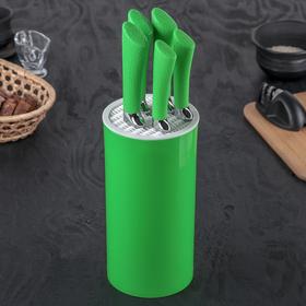 Набор кухонных ножей «Лаура», лезвия: 8,5/12,5/19,5/20/20 см, цвет зелёный