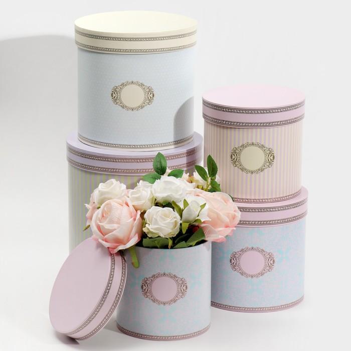 Набор круглых подарочных коробок 5 в 1 «Ладури», 23 × 23 × 25‒15 × 15 × 15 см