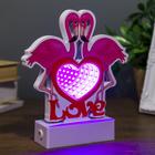 "Ночник ""Два фламинго"" эффект бесконечности 27хLED диоды розовые от USB 20х15,5х4,5 см"