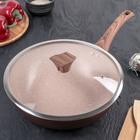 Сковорода-wok кованая 30 см Line Premium, стеклянная крышка, ручка soft-touch, индукция