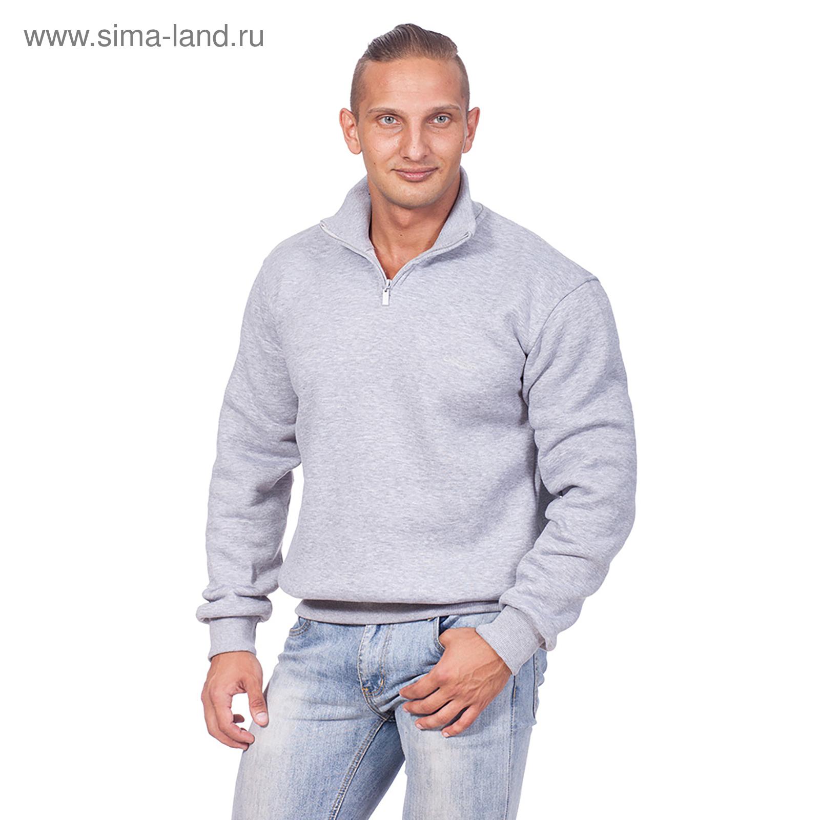 0afea62982a47 Толстовка мужская на короткой молнии, цвет серый меланж, размер 50 (L)