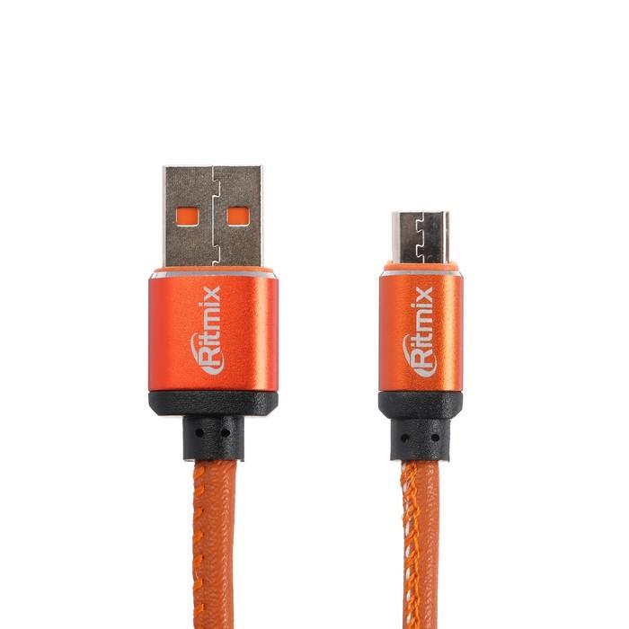 Кабель Ritmix RCC-415, microUSB-USB, 2.5 А, экокожа, 1 м, оранжевый