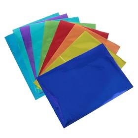 Бумага цветная, формат А4, 10 листов, 10 цветов, самоклеящаяся, блёстки, плотность 70 г/м3, 11 мкр