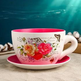 """Горшок цветочный в форме чашки """"Розы"""" 19*24*12 см"""