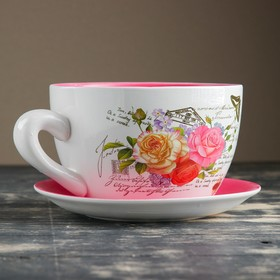 """Горшок цветочный в форме чашки """"Розы"""" 19*24*12 см - фото 1693017"""