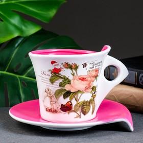 """Горшок цветочный в форме чашки """"Розы"""" 16*12*11 см"""