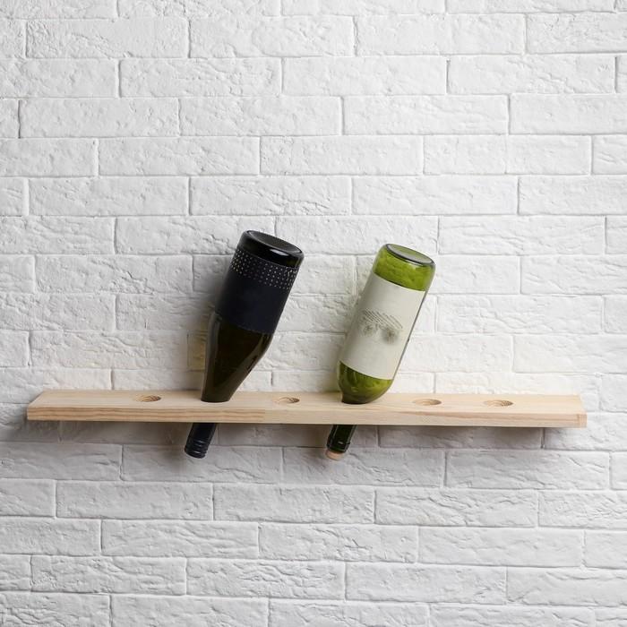 """Полка деревянная для вина """"Эко"""", 70 х 10 х 1,8 см"""
