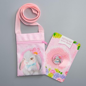 Baby gift set bag + brooch, pink