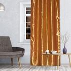 Штора портьерная 143х260 см, тафта, цв.золотой, на шторной ленте, пэ 100%