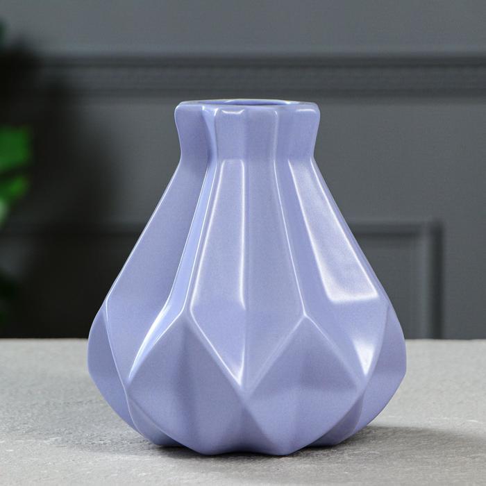 """Ваза настольная """"Оригами"""", геометрия, глянец, василёк, 15 см, керамика - фото 822557"""