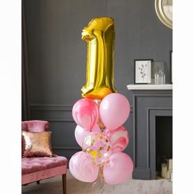 """Фонтан из шаров """"1 годик"""", для девочки, латекс, фольга, 10 шт."""
