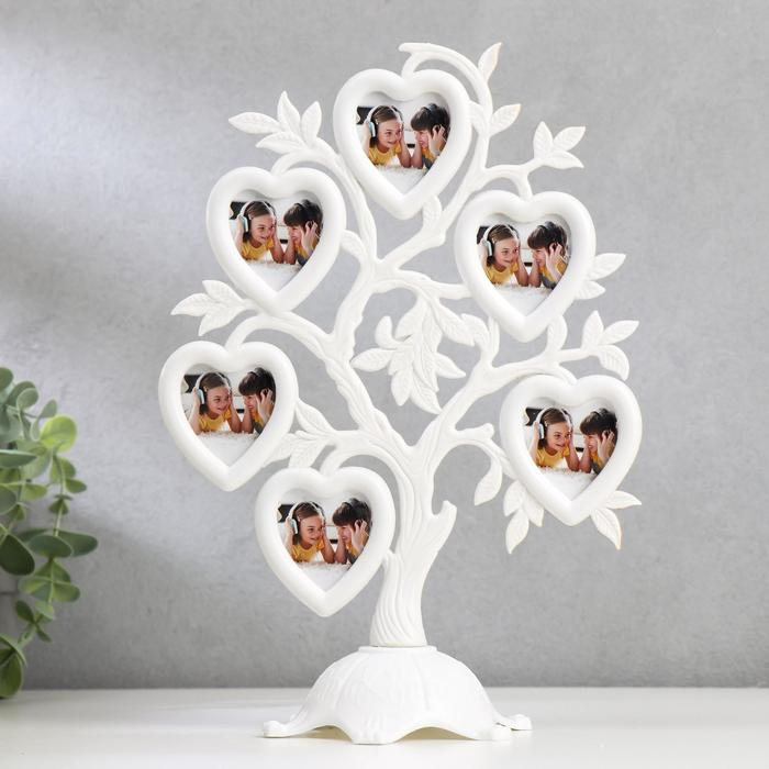 """Фоторамка пластик на 6 фото 4,5х3 см """"Дерево с сердцами"""" белая 26,5х19,5х11 см - фото 1706840"""