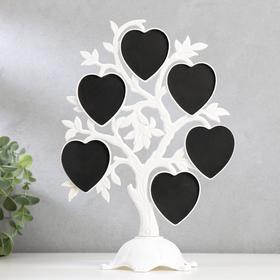 """Фоторамка пластик на 6 фото 4,5х3 см """"Дерево с сердцами"""" белая 26,5х19,5х11 см - фото 1706842"""