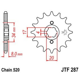 Звезда передняя, ведущая JTF287, стальная