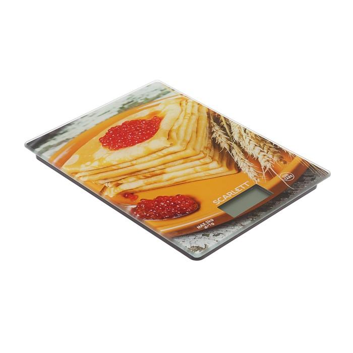 "Весы кухонные Scarlett SC-KS57P45, электронные, до 8 кг, ""блины с икрой"""