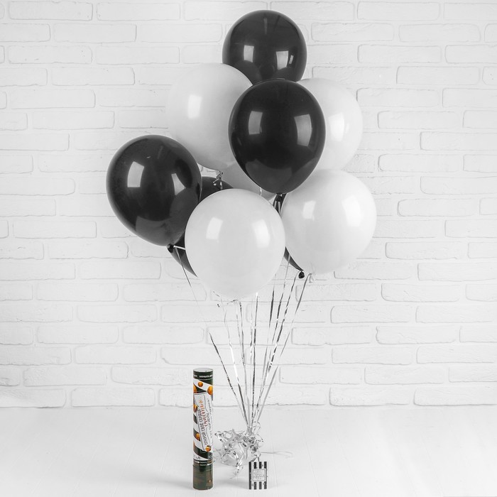 Воздушные шары, хлопушка, открытка, лента, чёрно-белый, 13 предметов в наборе - фото 308469633