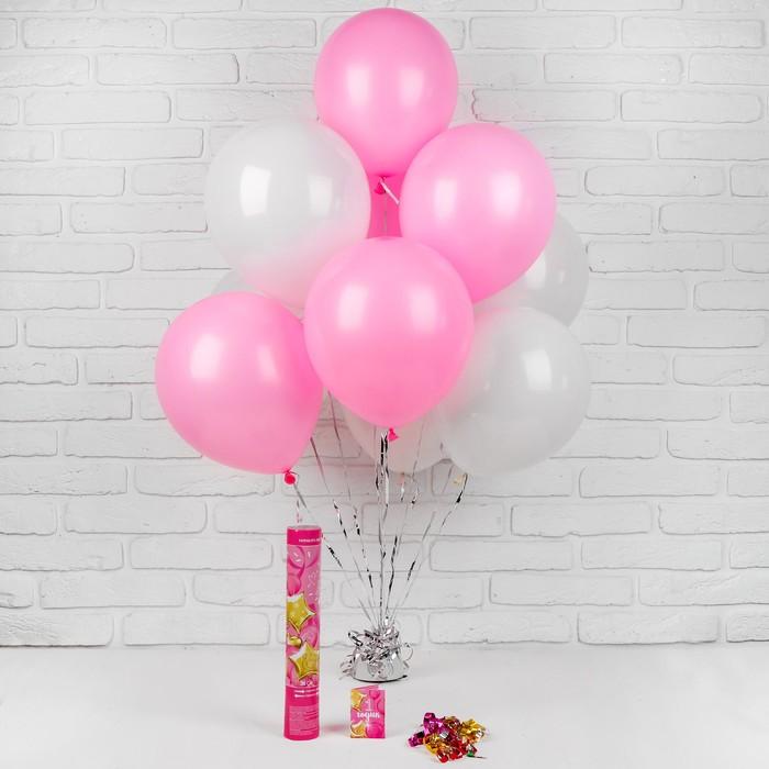 """Воздушные шары """"1 годик"""", хлопушка, открытка, лента, для девочки, 13 предметов в наборе - фото 952106"""