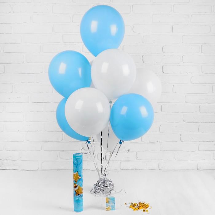 Воздушные шары «1 годик», хлопушка, открытка, лента,для мальчика, 13 предметов в наборе - фото 308469647