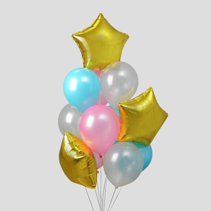 Букет из шаров «Лёгкость», латекс макарун, фольга, набор 12 шт. - фото 952131