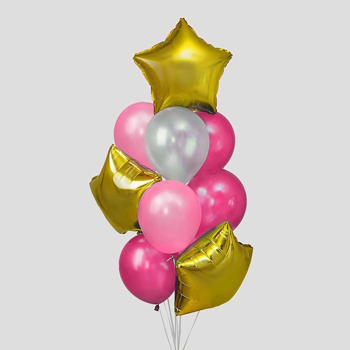 Букет из шаров «Розовая мечта», латекс макарун, фольга, набор 12 шт. - фото 308469665