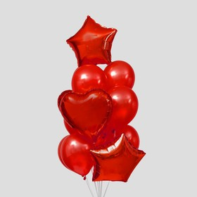"A bouquet of balloons ""Hearts and stars"", latex, foil, 14 piece set, red"