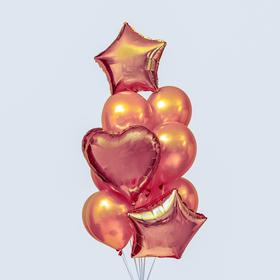 """A bouquet of balloons """"Hearts and stars"""", latex, foil, 14 piece set, color rose gold"""
