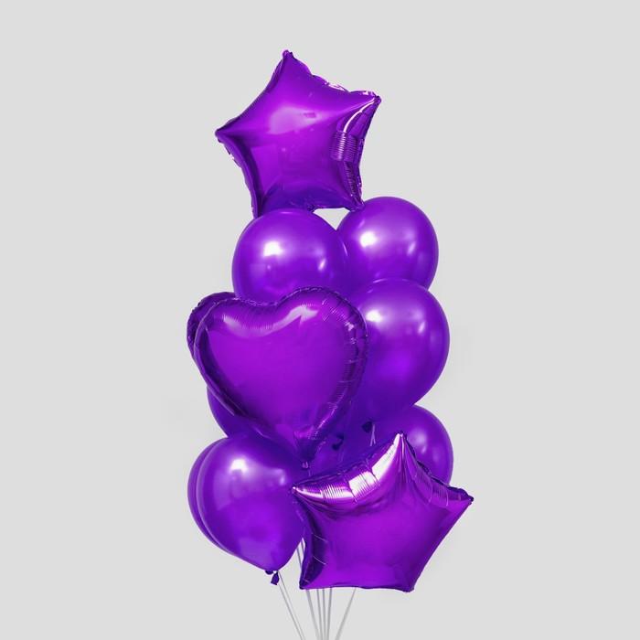 Букет из шаров «Сердца и звёзды», латекс, фольга, набор 14 шт., цвет фиолетовый - фото 308470538