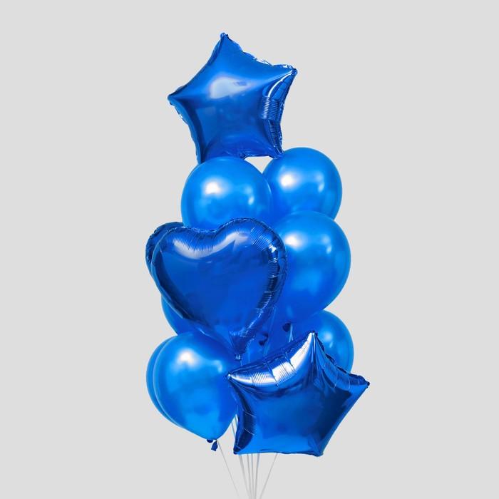 Букет из шаров «Сердца и звёзды», латекс, фольга, набор 14 шт., цвет синий - фото 308469669