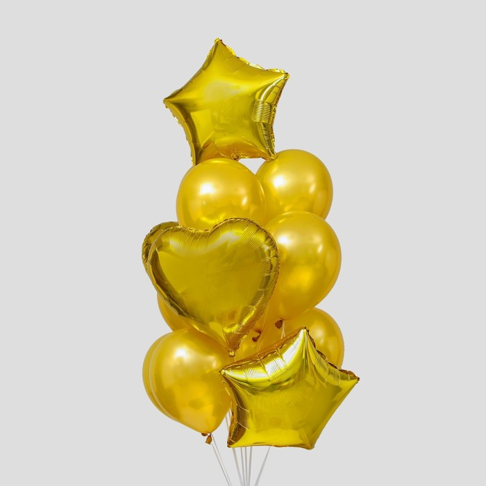 Букет из шаров «Сердца и звёзды», латекс, фольга, набор 14 шт., цвет золотой - фото 308469671