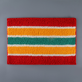 Коврик для ванной 40х60 см 'Букли полосатые', цвет желто-красный Ош