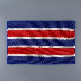 Коврик для ванной 40х60 см 'Букли полосатые', цвет сине-красный Ош