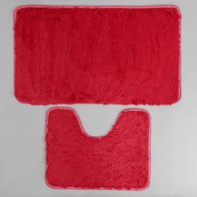 Набор ковриков для ванны и туалета Доляна «Мягкий», 2 шт: 40×50, 50×80 см, цвет бордовый