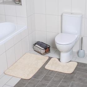 Набор ковриков для ванны и туалета Доляна «Грация», 2 шт: 40×50, 50×80 см, цвет бежевый