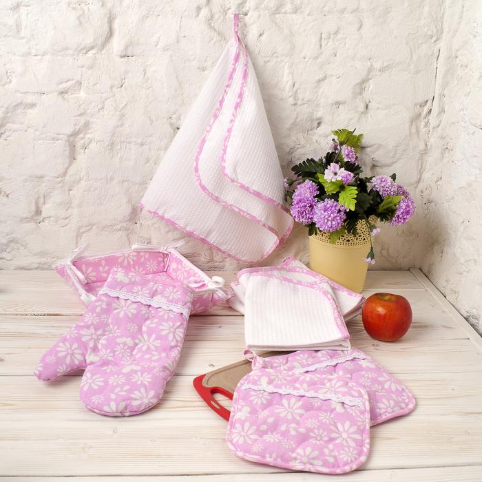 "Набор ""Любимой"" ""Софи"" рукавичка ,прих. 2 шт,т.ваза,полотенце 4 шт125,210 г/м2100% хл"