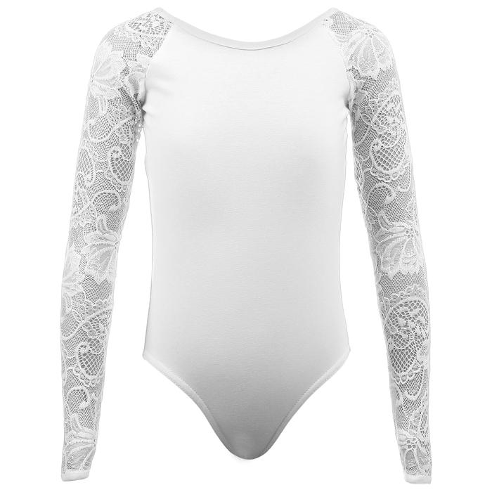 Купальник гимнастический Кружево 3 длин.рукав, размер 34, цвет белый