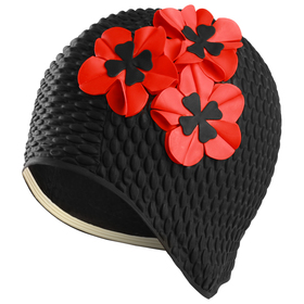 "Шапочка для плав. жен. ""FASHY Babble Cap with Flowers"", арт.3119-06, резина, черно-красный"