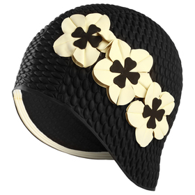 Шапочка для плавания, женская, FASHY Babble Cap with Flowers, арт.3119-20, резина, цвет чёрный/белый